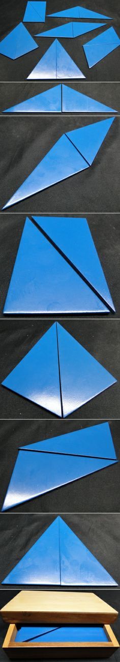 Blue Constructive Triangles The Blue  Constructive Triangles are used in the elementary Montessori classroom to explore equivalency, congruency and similarity. Includes 12 right-angled scalene triangles and a hardwood box with lid.