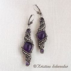 Theodora Earrings in Amethyst and Sterling Silver, by Kristine Schroeder. SOLD