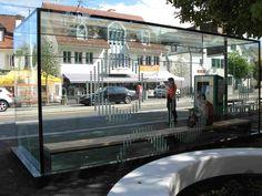 all glass busstop in Rheinau Switzerland with powerglass® ( LED in glass ) 9/2014