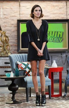 Alexa Chung wearing ACNE Atacoma platforms at MTV Studios in NYC.