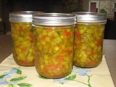 Prize Winning Zucchini Relish Recipe Kev and I made this already and it was awesome! I shredded my zucchini instead of cutting it in cubes health fitness; Zuchini Relish, Zucchini Relish Recipes, Canning Zucchini, Zucchini Pickles, Zuchinni Recipes, Pickled Zucchini, Preserving Zucchini, Preserving Food, Pepper Relish