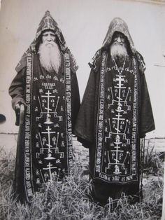 hekatiia:  Great Schema monks of the Russian Orthodox Church, robed in full habit of the highest degree of Eastern monastic tradition. Origin unknown.