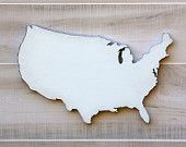 United States shape painted wood cutout wall art. Handcrafted 11x18 inches. 24 Color Options. Wedding Housewarming Cabin Rustic Decor Gift by stateyourlovellc on Etsy, $35.00 USD