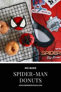 No-Bake Spider-Man Donuts The easiest superhero snack for your Spider-Man party, Marvel movie night snack bar, or your next brunch. These Spider-Man decorated donuts are no-bake! Movie Night Snacks, Donuts Donuts, Man Party, Home Movies, Snack Bar, Superhero Party, Marvel Movies, Sketchbooks, Spiderman