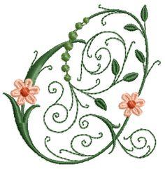 Victorian Flowers Font - Letter Q