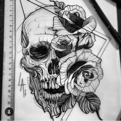 Skull Tattoo Designs and Tattoos - Skull Tattoo Designs - Port . Tatto Skull, Skull Tattoo Design, Tatoo Art, Arm Tattoo, Sleeve Tattoos, Tattoo Designs, Sketch Tattoo Design, Tattoo Sketches, Tattoo Drawings