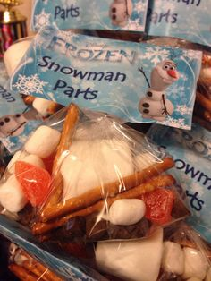 """FROZEN Party Goodie Bags....""""do you wanna build a snowman"""""""