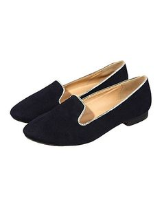 Black Suede Point Flat Shoes with Golden Trim