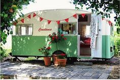 Love the 're-use' of items like vintage trailers - now living bright & varied new lives & purposes.