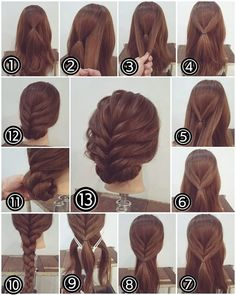 Flechtfrisuren - braided Hair - Haare Zopf Hochsteckfrisur, lange Haare Another activity that's popu Party Hairstyles For Long Hair, Up Hairstyles, Braided Hairstyles, Hairstyle Ideas, Easy Updos For Medium Hair, Hairdos, Braided Updo, Updos For Medium Length Hair Tutorial, Step By Step Hairstyles