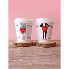 #DIY 'Je t'aime' coffee cup wrappers  #Free #Valentine #Printables