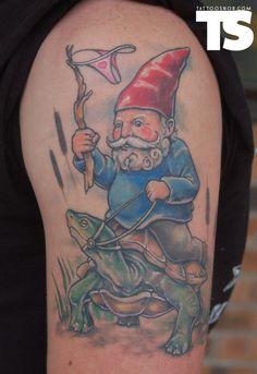 Gnome tattoo for franma no place like gnome for Garden gnome tattoo designs