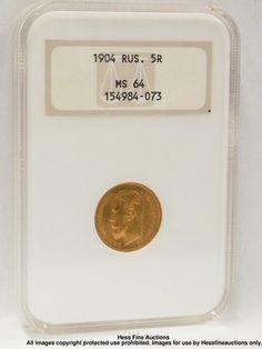 NGC MS 64 Russian 5 Five Ruble Pyatak Gold Coin 1904 Nicholas II