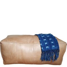 Long Leather Pouf Ottoman  natural tan brown leather by MindaHome