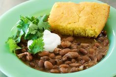 Pinto beans and cornbread. My grandma made the best ever! Beans And Cornbread, Skillet Cornbread, Pioneer Woman Recipes, Pioneer Women, Pinto Beans Recipe Pioneer Woman, Sandwiches, Good Food, Yummy Food, Delicious Dishes