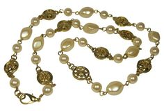 Goldtone & Faux-Pearl Charm Necklace