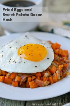Fried Eggs and Sweet Potato Bacon Hash