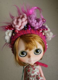 Barbie Complex  OOAK Gnome Helmet for Blythe  Crochet by elifins, $40.00