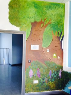 Hand Painted Enchanted Forest Wall Mural in school library, Skerries, Dublin.. by Bronwyn at RubyRua Interiors.. Contact me at bronwynrcb@gmail.com