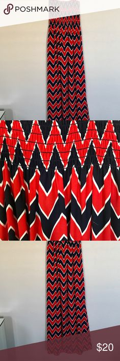 Navy and red Chevron Maxi dress Navy and red strapless Maxi dress Dresses Maxi