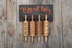 ROLLING PIN HOLDER  wooden hanger for 4 mini engraved rolling