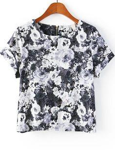 Black Short Sleeve Floral Zipper T-Shirt 16.00