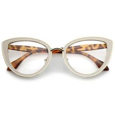 Women's High Sitting Temples Teardrop Clear Lens Cat Eye Glasses – Fashion Trends To Try In 2019 Funky Glasses, Cute Glasses, New Glasses, Cat Eye Glasses, Glasses Frames, Glasses Style, Round Lens Sunglasses, Sunglasses Women, Vintage Sunglasses