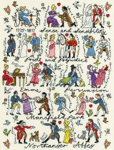 A collage of characters from the romantic novels of English Regency author Jane Austen - Sense and Sensibilty, Pride and Prejudice, Emma, Persuasion, Mansfield Park and Northanger Abbey.
