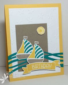 by Mary: Swirly Bird bundle, Time of Year (host), Lucky Stars embossing folder - all from Stampin' Up! Masculine Birthday Cards, Birthday Cards For Men, Male Birthday, Masculine Cards, Boy Cards, Kids Cards, Men's Cards, Su Swirly Scribbles, Stamping Up Cards