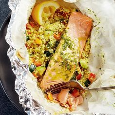Papillotes de saumon et de couscous Confort Food, Fish And Seafood, Fresh Rolls, Cooking Time, Seafood Recipes, Food Inspiration, Delish, Main Dishes, Food And Drink