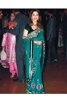 Madhuri Dixit Saree green