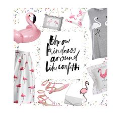 """Flamingo print"" by julesdiaries ❤ liked on Polyvore featuring Chicwish, Akira, River Island, Crane & Co., Sunnylife, Valentino and flamingo"