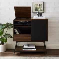 Record Player Accent Cabinet Record Player Table, Record Player Cabinet, Vinyl Storage, Record Storage, Studio Table, Home Studio Music, Formal Living Rooms, Living Spaces, Bars For Home