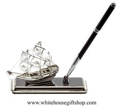 "The Mayflower Deskset, Swarovski® Crystals, Silver Plated, Brass, 5.25"" L x 1.5"" W x 7"" to Pen Cap, Boxed with White House Gift Shop Seal, Hand-Assembled in USA. Enter Promo Code ""PIN"" for 10% off your entire order!"