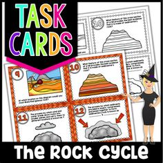 Sedimentary Rock, Science Stations, Rock Cycle, Bell Work, Next Generation Science Standards, 6th Grade Science, Test Prep, Task Cards, The Rock