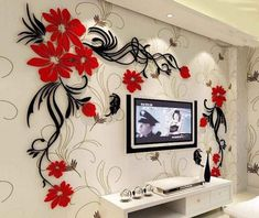 Hermione Baby Flower and Vine Wall Murals for Living Room Bedroom Sofa Backdrop Tv Wall Background, Originality Stickers Gift, DIY Wall Decal Wall Decor Wall Decorations (Red, Small) Wall Stickers Vector, Wall Stickers Home Decor, Front Door Design Wood, Wall Painting Living Room, Creative Wall Decor, Condo Decorating, Vine Wall, Home Wallpaper, Wall Art Designs