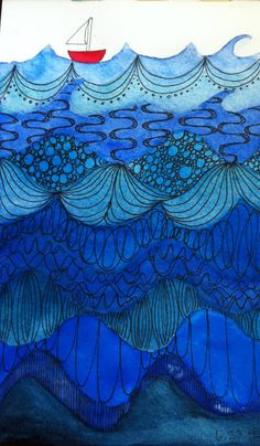 Blue - azul - waves - ondas - barco - Emilee Paints: Art Journal: Little Red Boat