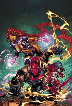 Red Hood, Arsenal and Starfire - Ed Benes