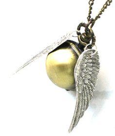Steampunk Harry Potter ENCHANTED - Golden Snitch - POCKET WATCH - Locket Pendant Necklace - Antique Silver Wings - By GlazedBlackCherry