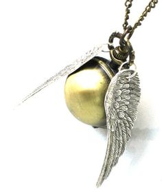 Steampunk Harry Potter ENCHANTED - Golden Snitch - POCKET WATCH - Locket Pendant Necklace - Antique Silver Wings - By GlazedBlackCherry