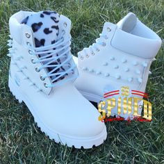 Custom White Spiked Leopard Timberlands ($165) ❤ liked on Polyvore featuring shoes, grey, leopard shoes, grey shoes, white shoes, spike shoes and gray shoes