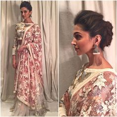 Deepika Padukone in a sequined ivory lehenga with pink lemonade dupatta. Ellie Saab, Indian Dresses, Indian Outfits, Deeps, Lehenga Wedding, Wedding Dress, Indian Wedding Hairstyles, Desi Clothes, Indian Clothes