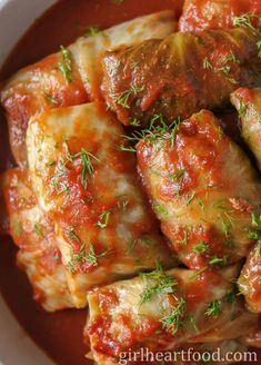 These easy old-fashioned cabbage rolls are so tasty and ultra comforting! Cabbage leaves are stuffed with a seasoned ground beef mixture, topped with tomato sauce and baked. So hearty and delicious! Easy Cabbage Rolls, Cabbage Rolls Recipe, Cabbage Recipes, Crockpot Recipes, Soup Recipes, Dinner Recipes, Cooking Recipes, Cabbage Roll Sauce, Dinner Entrees