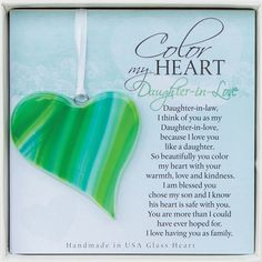 When you love her like a daughter- what a beautiful way to welcome her to the family. Each heart handmade in the USA.