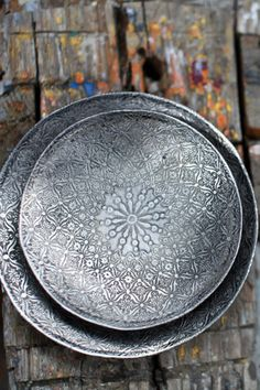 Indian etched metal dish