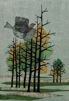 (Bird with trees) by Fumio Fujita 1963 color woodcut                                                                                                                                                                                 More
