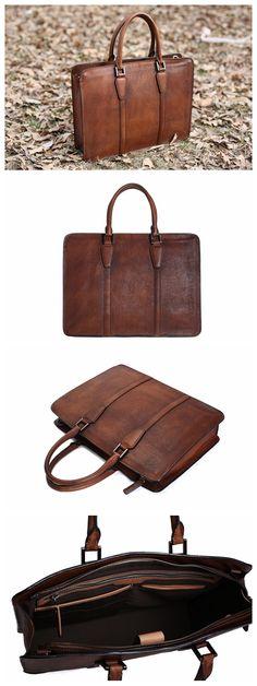 Handmade Vintage Full Grain Leather Briefcase, Laptop Bag, Men's Handbag NZ02