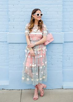 Jennifer Lake Style Charade in an ASOS mesh sequin embellished midi dress, pink Chanel bag, Sam Edelman wrap up sandals and Monica Vinader jewelry