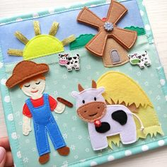 Quiet book for kids about the farm and pets. Felt barn, cow, sheep, goose, collect fruit from felt Diy Quiet Books, Baby Quiet Book, Sensory Book, Baby Sensory, Baby Sewing Projects, Sewing For Kids, Touch And Feel Book, Quiet Book Templates, Fidget Quilt