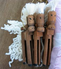 Set of 3 Handmade Vintage Wooden Clothespin Ornaments by mspege, $16.00